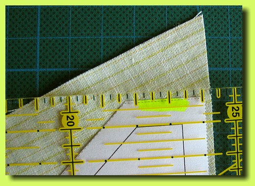 Seam allowance at the previously marked edges